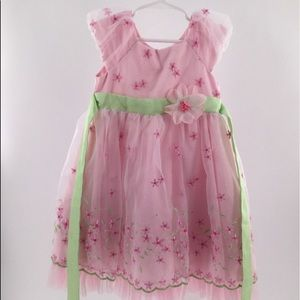Jona Michelle pink/ lime flower embroidered dress